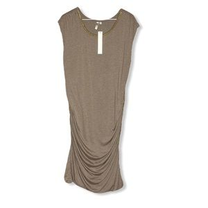 Kut From Kloth XL Dress Ruched Gold Chain NWT